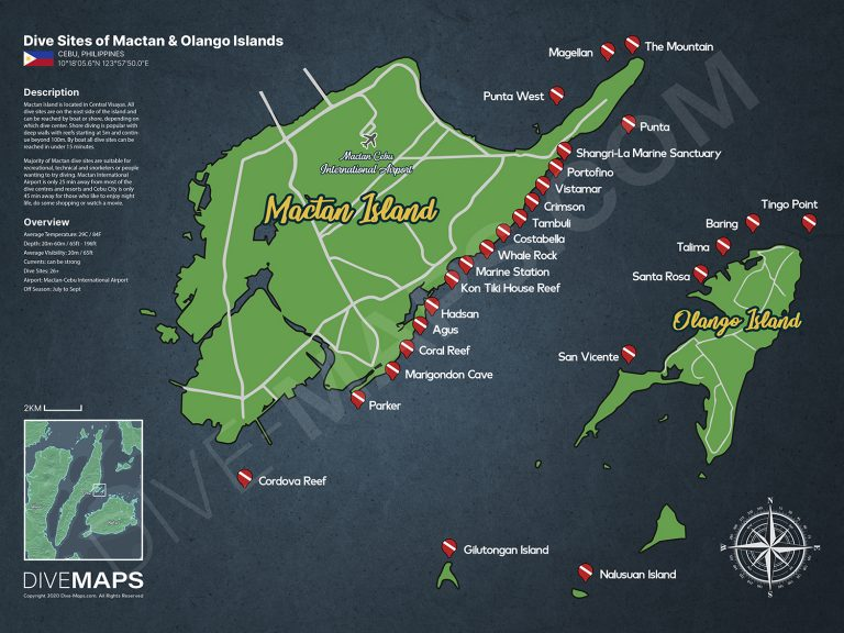 Map of Dive Sites in Mactan and Olango Islands Cebu